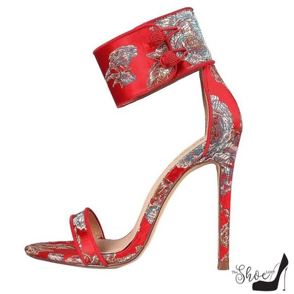 The Shoe Loft Shoes - Yani Red Faux Silk Asian Print Ankle Choker Heels